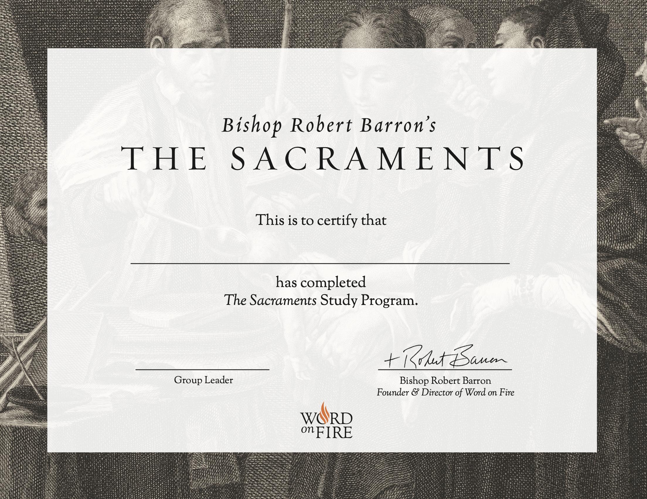 Sacraments Certificate