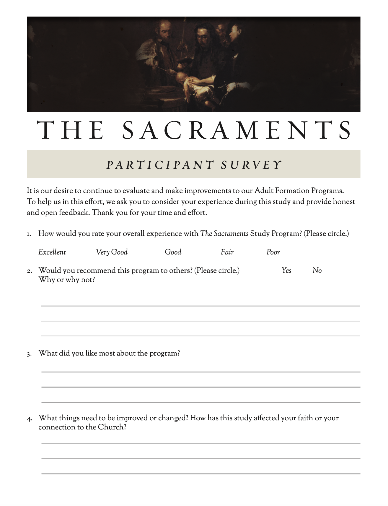 Sacraments Survey