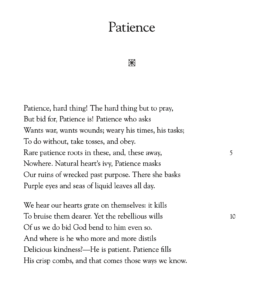 "Gerard Manley Hopkins ""Patience"""